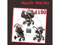 XD HAUCK MALIBU XL TRAVEL SYSTEM BLACK WHITE DOTS GIRLY PRAM PUSHCHAIR CAR SEAT CARRYCOT RAINCOVER.