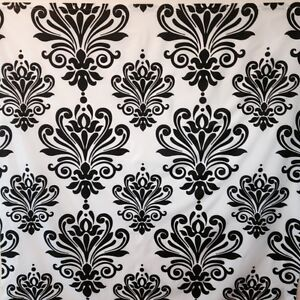 Black And White Damask Fabric Shower Curtain