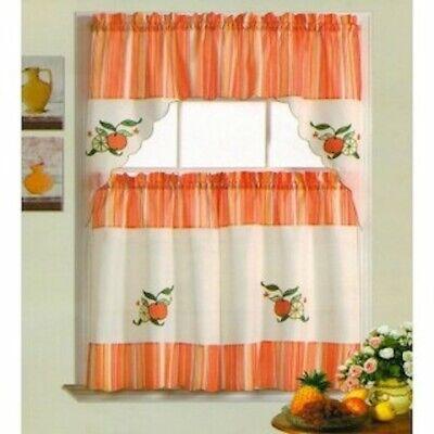 Citrus Garden Embroidered Kitchen Curtain Valance & Tiers Set Beige Spring -