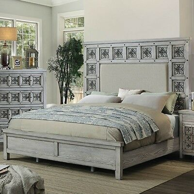 Queen Size Bed Bedroom Tall Padded Fabric Headboard Poly Resin Inlay Design 1pc