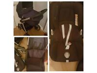 BABY COUTURE Senses 3 in 1 NAVY BLUE Pram & Maxi Cosi Car seat. Great condition! RRP over £600!