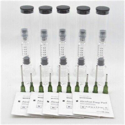 1ml Glass Luer Lock Or Slip Syringe Kit W 14 Gauge Blunt Tip Needle - 5 Pack