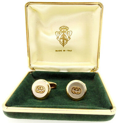 GUCCI Cufflinks Interlocking G Authentic Used Y5524
