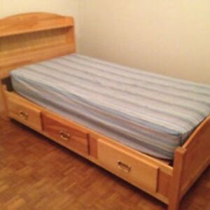 Solid birch twin mates bed