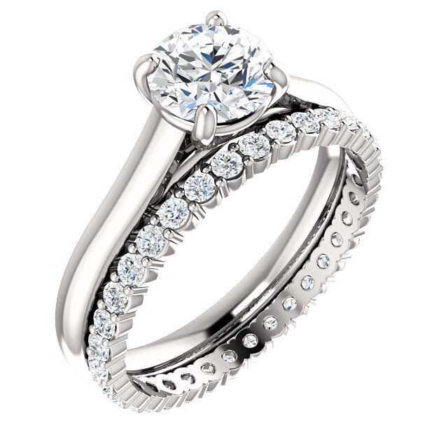 2.10 Ct Round Cut Diamond Solitaire I,VS2 GIA Engagement Ring & Eternity Band