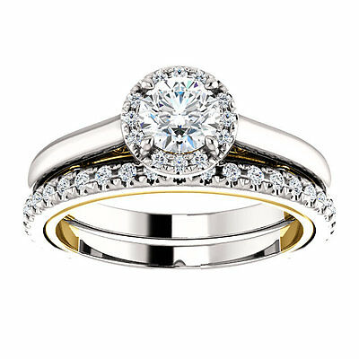 1 carat Round Diamond Vintage Wedding 14k Two Tone Gold Solitaire Ring GIA E VS1 1