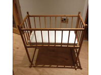 Lovely Vintage Solid Wood Rocking Cot / Crib from the early 1960's