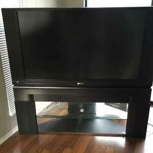 """60"""" Hitachi Ultravision LCD TV with original stand."""