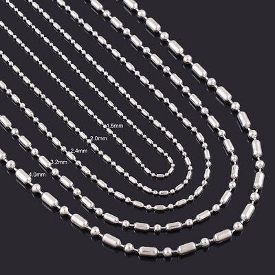 Stainless Steel 24 Inch 1.5  mm Ball Cylinder Link Neck Chain Necklace (Ball Chains)