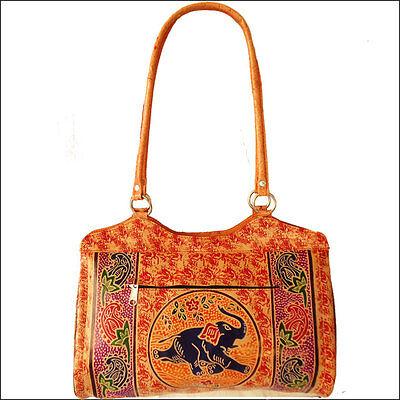 India Shantiniketan Handmade Elephant Design Genuine Leather Womens Bag Purse