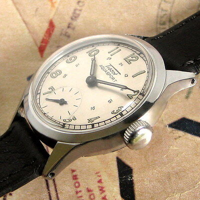 Mens 1945 Tissot AQUASPORT Stainless WWII Military 27.3 Cal. Vintage Swiss Watch