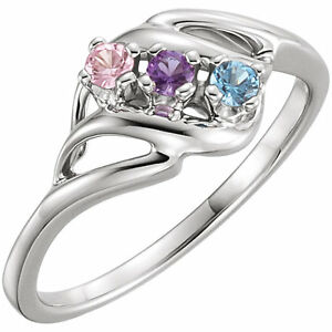 Sterling-Silver-Mother-039-s-Ring-1-to-5-Round-Birthstones-Mom-039-s-family-Jewelry-Gift