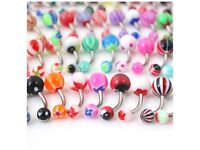 HC- 48 pieces of body jewellery- belly/ navel bars