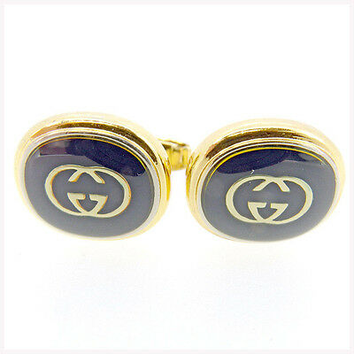 GUCCI Cufflinks Interlocking Mens Authentic Used T298