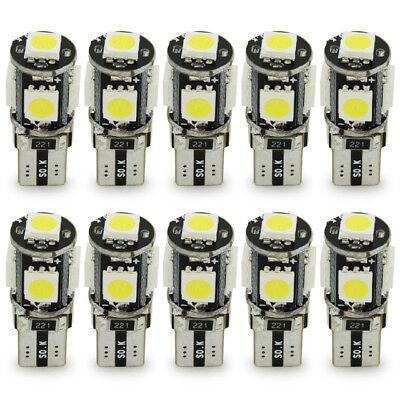 10 LAMPADINE POSIZIONE CANBUS NO ERRORE 5 LED SMD 5050 T10 W5W LUCE BIANCA 10x