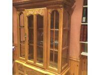**** Solid Oak Glass Display Cabinet Dresser Unit *****