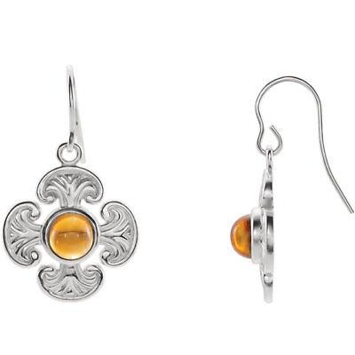 Citrine Maltese Cross Earrings In 14K White Gold