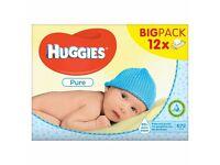 9 Huggies baby wipes
