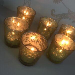 Set Of 6 Mercury Glass Gold Tea Light Holder Candle Votive