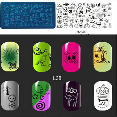 Nail Art Stamping Plates Image Plate HALLOWEEN Pumpins Bat Ghost Witch (QL038)](Halloween Pumpins)
