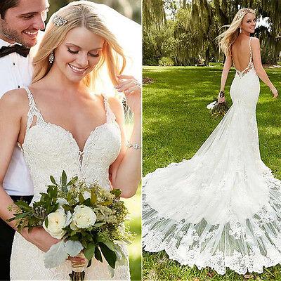 White/Ivory Mermaid Wedding Dress Bridal Gown Custom Size 4 6 8 10 12 14 16 18+