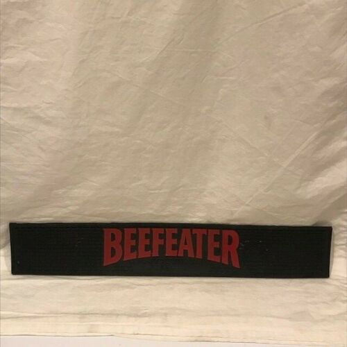 """Beefeater Gin Bar Mat - Black w/Red Letters - Pre-Owned - 20 1/2"""" x 3 3/8"""" -G/VG"""