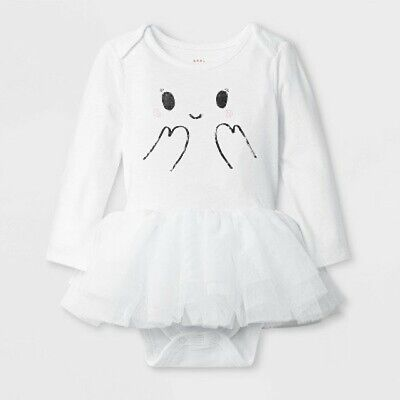 Newborn  Girls' Halloween Ghost Tutu Bodysuit- Cat & Jack White Dress Up