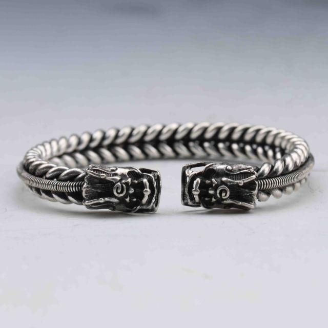 Old Tibet Silver Handmade twist-style creative Dragon Bracelet  NN