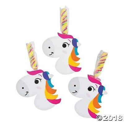 12 Unicorn Horn Rainbow Twisty Suckers Lollipops w/ cutout Birthday Party Favors
