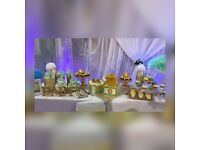 Cake table and sweet table decoration settings