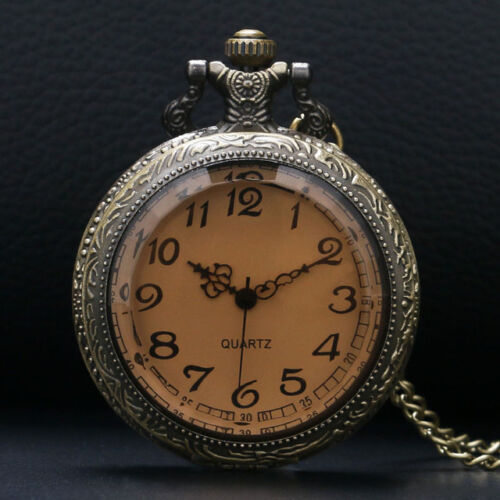 Steampunk Pocket Watch Pendant attractive Amber Glass with White Face