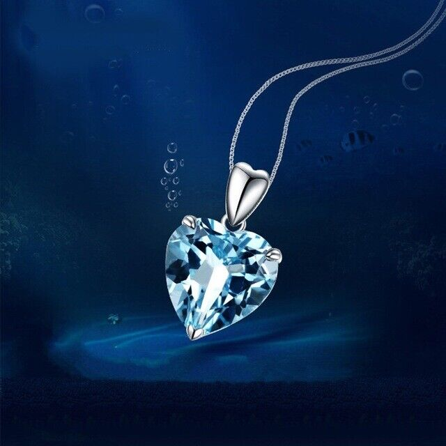 Jewellery - Heart Aqua Ocean Pendant 925 Sterling Silver Chain Necklace Womens Jewellery New