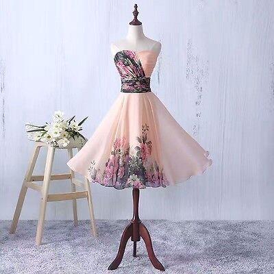 Floral Chiffon Abendkleid Ballkleid Cocktailkleid Blumenprint Kleid 34-42 BC262 Floral Print Chiffon Kleid