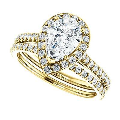 2.50 Ctw Halo Pear Cut U-Setting Pave Diamond Engagement Ring Set F,SI1 14K WG 6