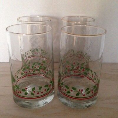 ARBY'S HOLLY BERRY Christmas Holiday Drinking Glasses Vintage 1984 Set of 4