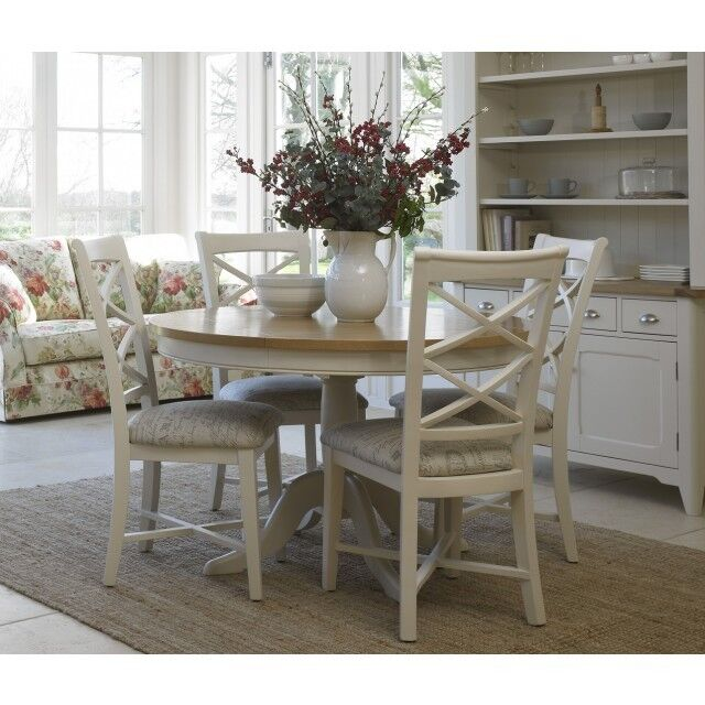 Cottage Oak and Painted Round Dining Table, 120cm diameter, As New