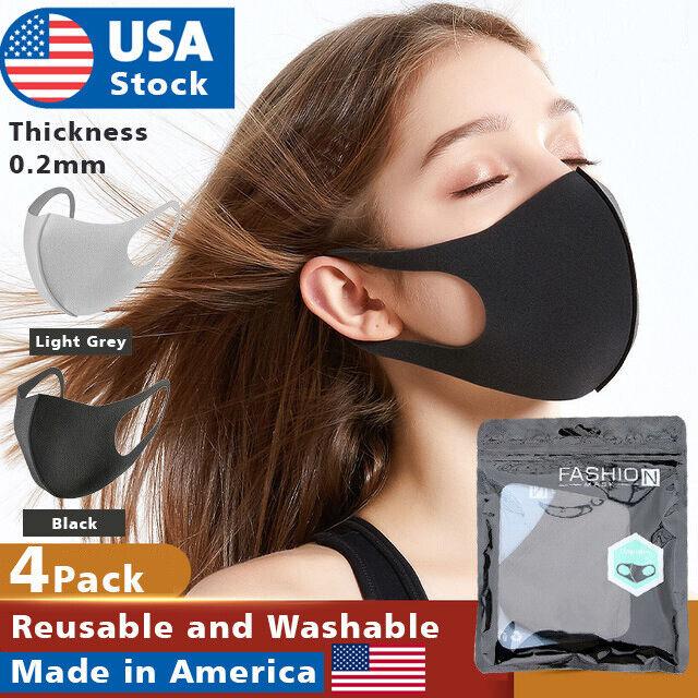 4pack US Face Mask Black Washable polyurethane Reusable Breathable Unisex Masks Accessories
