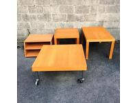 4 matching Ikea tables, coffee table, side tables, TV bench in beech.
