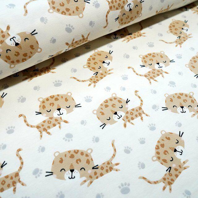 Biojersey Leopard Kimi beige Stoffonkel Kinderstoff