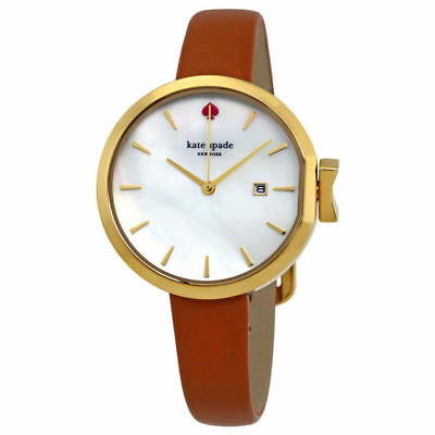 KATE SPADE PARK ROW WHITE MOP DIAL DATE LEATHER STRAP LADIES WATCH KSW1324 NEW