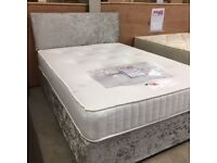 Brand NEW double bed with silver crushed velvet base and matching headboard