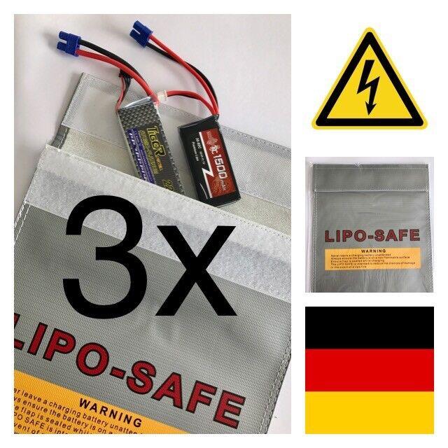 3x Lipo Safe Bag 18x22 cm Li-Po Schutz Charge Pack Lipo Tasche Neu & OVP Feuer