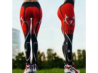 New Red Black Color Patchwork Print Leggins High Elasticity Fitness