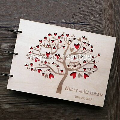 Wedding Rustic Guest Book Heart Tree Photo Album Wooden Anniversary Gift Papers](Wedding Guest Tree)