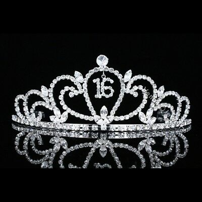 Sweet 16 Birthday Party Princess Rhinestones Crystal Crown Tiara 7483 - Tiara Birthday