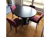 Danetti Curva Round Wenge Extending Dining Table with 4 MADE chairs