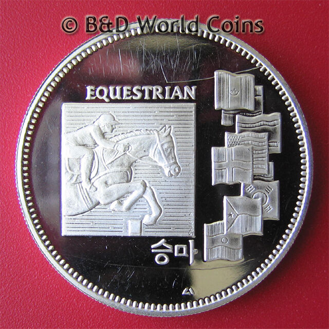SOUTH KOREA 1988 SEOUL OLYMPICS 1oz SILVER PROOF EQUESTRIAN MEDAL (scratches)