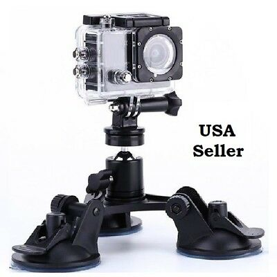 Tripod Mount Triple Suction Cup Car Windshield for GoPro DSLR SLR Cam Heavy Duty (Gopro Suction Cup Mount)