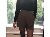Kaki suede high waist shorts