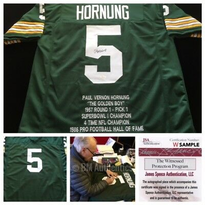 Paul Hornung Green Bay Packers Signed Autograph Stat Jersey JSA WITNESS COA 0aa42ca21